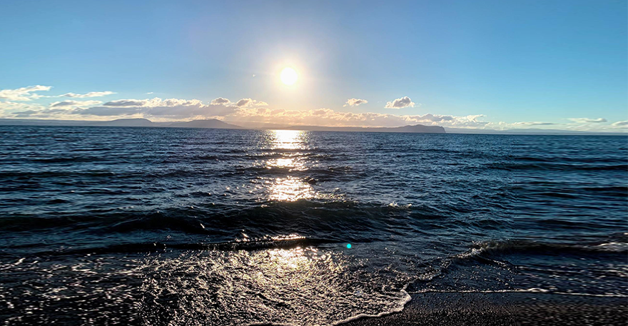 Beginning of a sunset over Lake Taupo